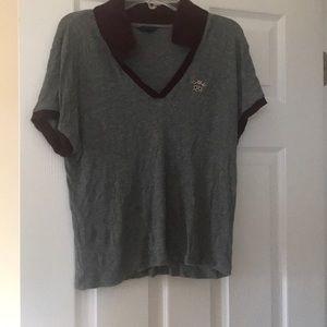 Polo like shirt - maroon and gray
